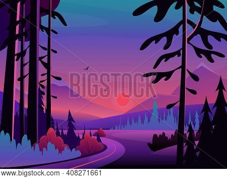 Night Landscape Scene, Midnight Neon Dark Nature Scenery With Black Silhouettes Of Trees