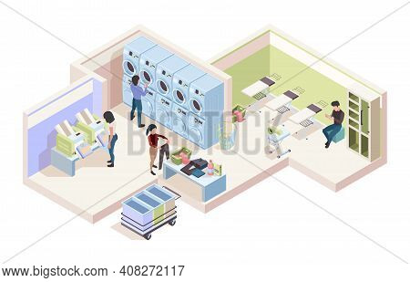 Industry Laundry Room. Isometric Interior Of Cleaning Service Laundry House Dry Tools Garish Vector