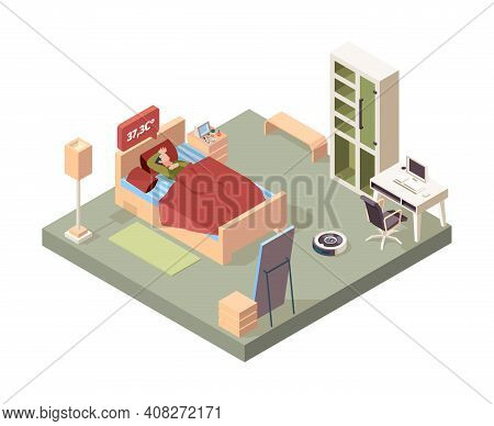 Sick People In Bed. Flu Character Sneezing Bad Symptoms Garish Vector Isometric Interior Concept. Il