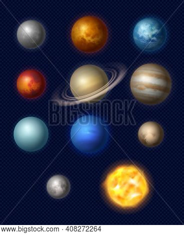 Planets Realistic. Universe Systems Stars Collection Jupiter Earth Moon Neptune Various Size Of Plan