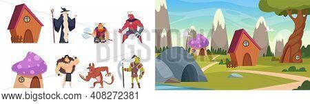 Magic Heroes. Fairytale Landscape, Cute Cartoon Houses, Magical Forest Vector Illustration. Magic Ch