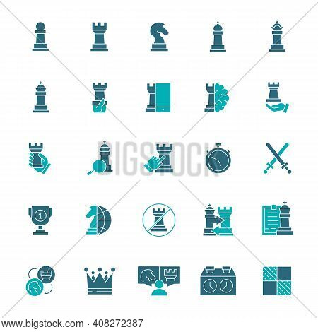 Set Of Chess Colored Icon. Board Game, King, Queen, Bishop, Pawn, Rook, Knight And More.