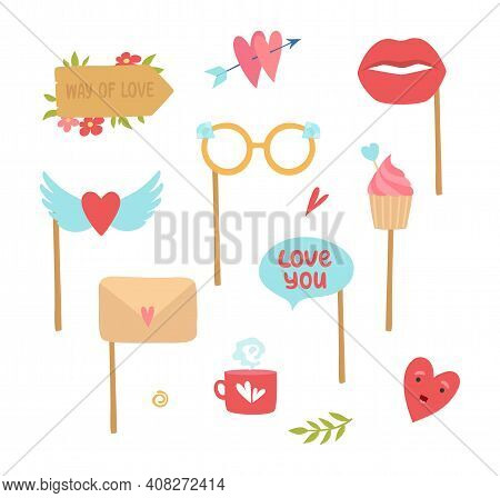 Photo Booth Elements. Love Decorations, Heart Lips Cake Stickers For Planners Diary Vector Set. Deco