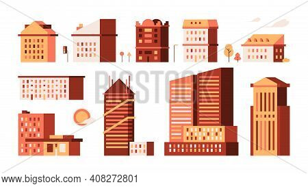 Flat Houses. Simple Urban Buildings Minimalism Style Garish Vector Illustrations Town Houses Home Co