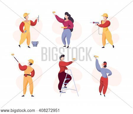 Painters. Crowd Professional Workers Wall Painting Garish Vector Stylized People. Illustration Worke