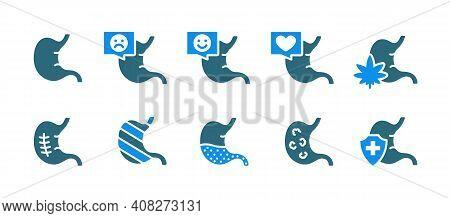 Set Of Human Stomach Colored Icon. Healthy Internal Organ, Gastrointestinal Tract Illness, Diagnosis