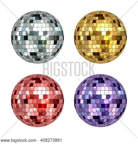 Disco Ball. Mirror Reflected Circle Glamorous Ball For Night Club Dance Party Decent Vector Realisti