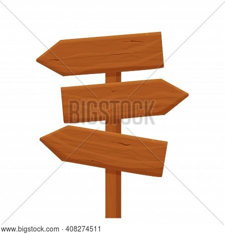 Wood Signpost, Pointing With Direction In Cartoon Style Isolated On White Background. Wild West, Ui