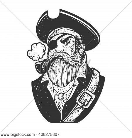 One-eyed Pirate With Smoking Pipe And Eyepatch Sketch Engraving Vector Illustration. T-shirt Apparel