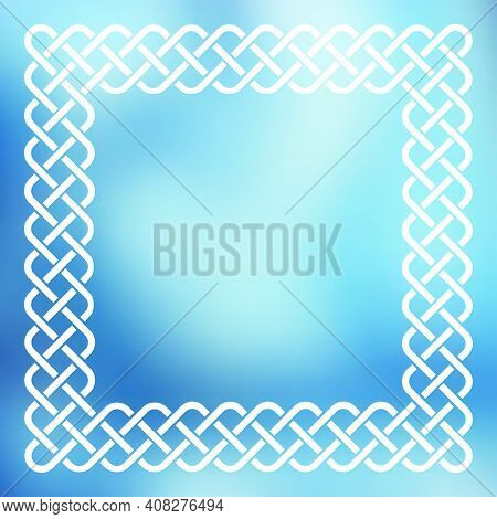 Traditional Style Braided Knot Celtic Frame Over Square Abstract Smooth Blur Blue Background.