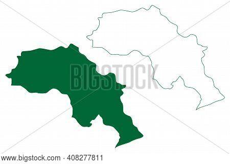 Upper Subansiri District (arunachal Pradesh State, Republic Of India) Map Vector Illustration, Scrib