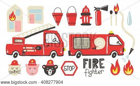 Firefighter Set. Fire Truck, Extinguisher And Hydrant. Hand Drawn Trendy Scandinavian Style Childish