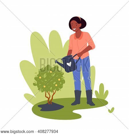 People Work In Garden, Gardener Worker Woman Working Gardening Watering Lemon Tree