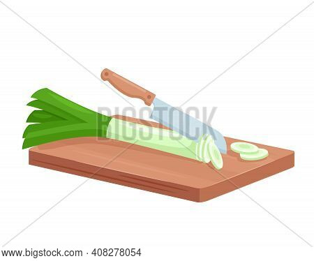 Cut Leeks For Cooking, Isometric Fresh Green Leeks Chopped Slices Lie On Wooden Board