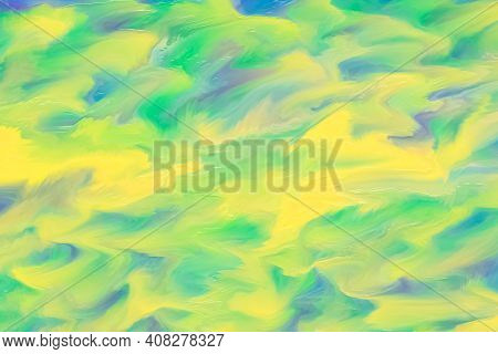 Abstract Yellow And Green Watercolor Background With Brush Strokes. Blurred Painted Texture, Surreal