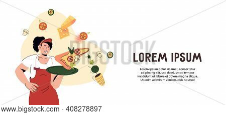 Italian Restaurant Or Take Away Cafe Banner Or Flyer With Waitress Holding A Tray With Pizza. Pizzer