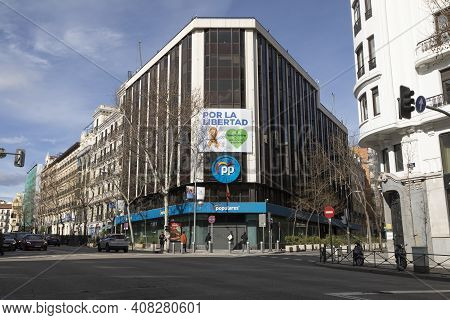 Madrid, Spain - February 07, 2021: National Headquarters Of The Popular Party, Pp, In Madrid, Office