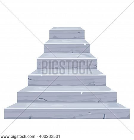 Stone Stairs In Cartoon Style With Cracked Elements, Old Details Isolated On White Background. Ancie