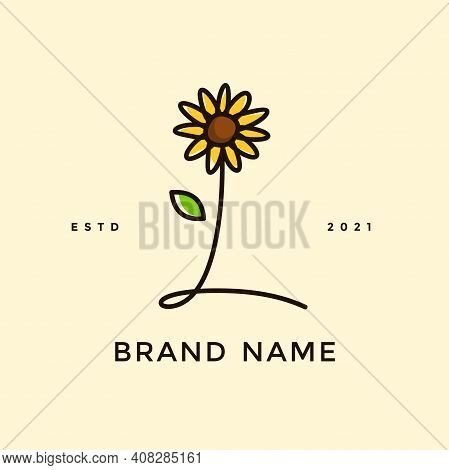 Beauty And Charming Simple Illustration Logo Design Initial L Combine With Sun Flower.