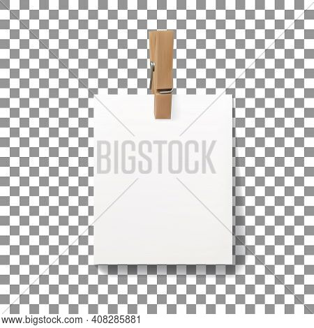 Vector Realistic Wooden Clothespin Peg With Hanged Piece Of Paper Sheet. Illustration With Copy Spac