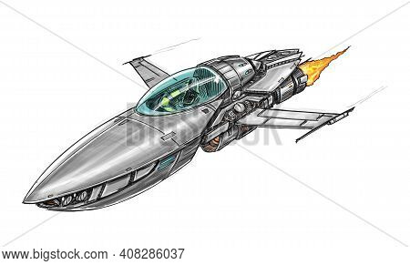 Sci-fi Spaceship Or Spacecraft Design, Concept Art Drawing Or Illustration. Space Ship Or Craft Flyi