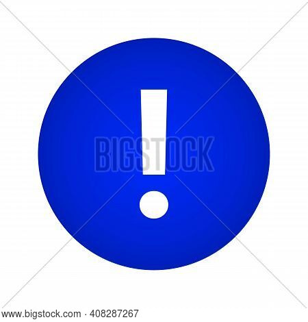 Attention Icon. Attention Button On A Blue Gradient Circle Shape. Vector Illustration