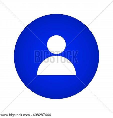 Profile Icon. Person Icon. Profile Button On A Blue Gradient Circle Shape. Vector Illustration. Vect