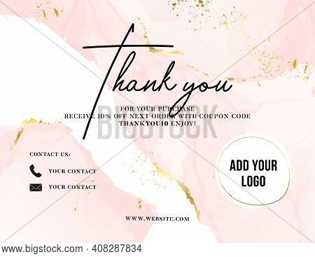 Thank You Card Watercolor Pink Gold, Customer Service Women Business Card , Promotion Voucher , Post