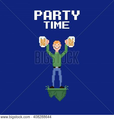 Colorful Simple Flat Pixel Art Illustration Of Young Smiling Guy Holding Two Glasses Of Beer Or Ale