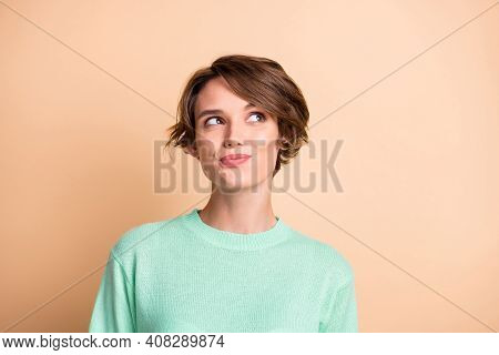 Portrait Of Young Attractive Smiling Dreamy Cheerful Lovely Charming Girl Look Copyspace Isolated On