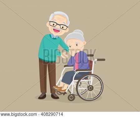 Elderly Woman Sit In A Wheelchair And Elderly Man Tenderly Puts  Hands On Her Shoulders. Grandfather