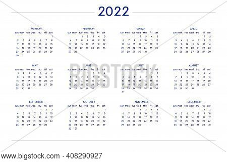 2022 Calendar Set In Classic Strict Style. Wall Table Calendar Schedule, Minimal Restrained Business
