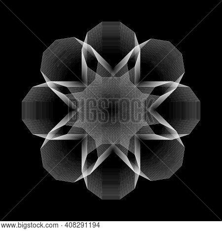 Brutalism Design Abstract Shape. Vector Geometric Shape Stroke Element On Black Background. Vector I