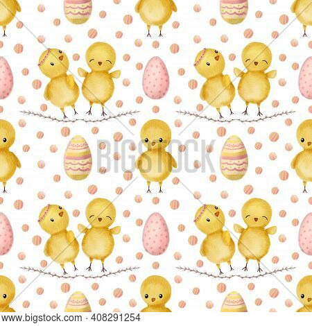 Hand Drawn Watercolor Happy Easter Seamless Pattern With Chicks And Eggs Design. Chicks, Eggs In Car