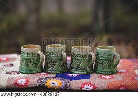Old Mugs On A Crocheted Blanket. Hand Made Clay Mugs. How To Make Clay Mugs.