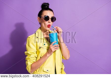 Photo Of Young Amazed Impressed Beautiful Attractive Girl Woman Hold Drink Soda Straw Wear Sunglasse