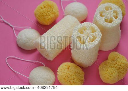 Zero Waste . Natural Organic Hygiene Products. Loofah Sponge And Spongy Konnyaku Set On A Pink Backg