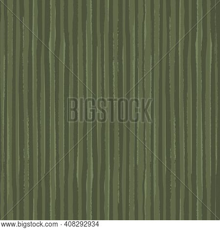 Painterly Sage Green Stripe Vector Seamless Pattern Background. Overlapping Brush Stroke Style Strip
