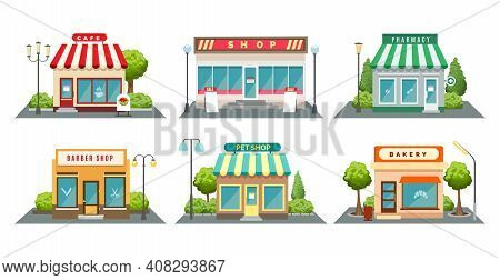 Shops Fronts On Street. Shopping Retail Facades, Bistroshop And Barber Boutique, Bakery And Pet Stor