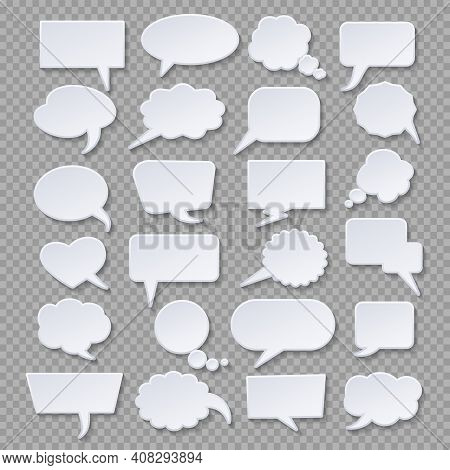 Paper Thoughts Bubbles Designs. White Papers Nubes Vector Illustration, Bubbly Cloud Tags Or Bubblin