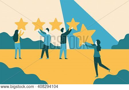 5 Stars - People Holding Stars And Collecting Them Into Positive Feedback - Best Satisfaction Level