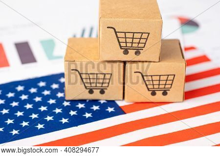 Box With Shopping Cart Logo And Usa United State America Flag, Import Export Shopping Online Or Ecom