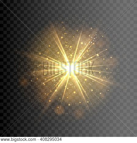 Explosion Shining Light Element. Gold Solar Glow With Sparks Shine, Vector Yellow Lighting Sparkly S