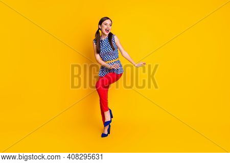 Full Length Body Size View Of Her She Nice Attractive Lovely Classy Elegant Chic Slim Fit Cheerful C