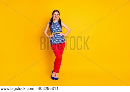 Full Length Body Size View Of Her She Nice-looking Attractive Pretty Cheerful Cheery Fashionable Gir