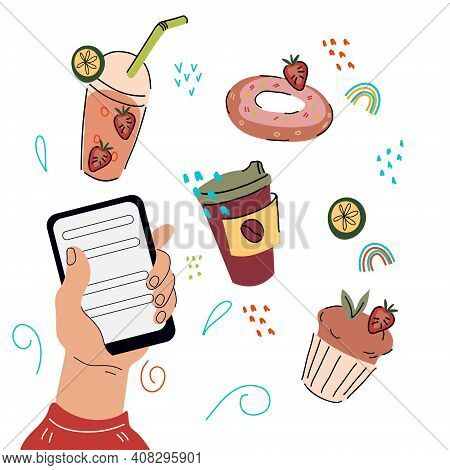 Online Cakes, Sweet Drinks And Pastry Bites Order App. Hand Of Man Choosing Coffee And Dessert Via M