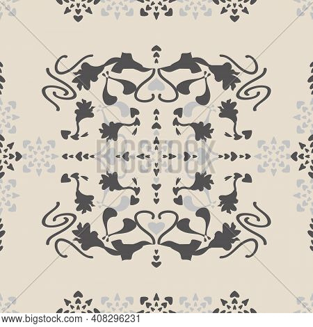 Seamless Pattern Floral With Lily Flowers And Hearts. Cream Ivory And Gray. Vector.