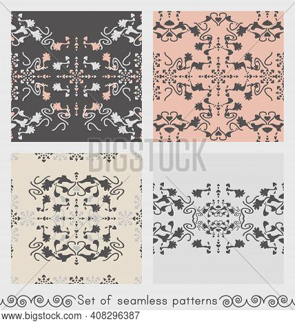 Set Of Seamless Patterns Floral With Lily Flowers And Hearts. Gray, Cream Ivory And Pastel Orange. V