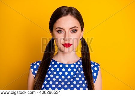 Close-up Portrait Of Her She Nice-looking Attractive Pretty Lovely Cute Content Serious Calm Girl We