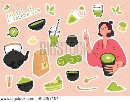 Green Matcha Tea Serve And Drink By A Young Woman. Set Of Matcha Healthy Drink Stickers. Various Tea
